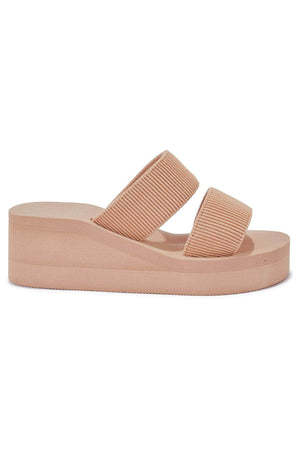 Nude Double Strap Wedge Mules