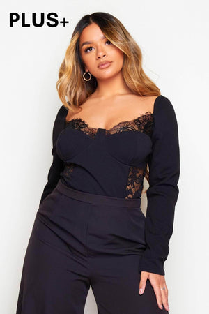 Plus+ Black Lace Detail Long Sleeve Bodysuit