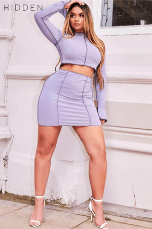 Grey Seam Detail Ribbed Crop Top & Mini Skirt Co-ord