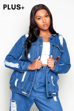 Plus+ Distressed Denim Heart Embroidered Jacket