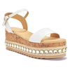 White Cork Diamante Embellished Platform Sandals
