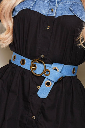 Blue Denim Eyelet Detail Belts