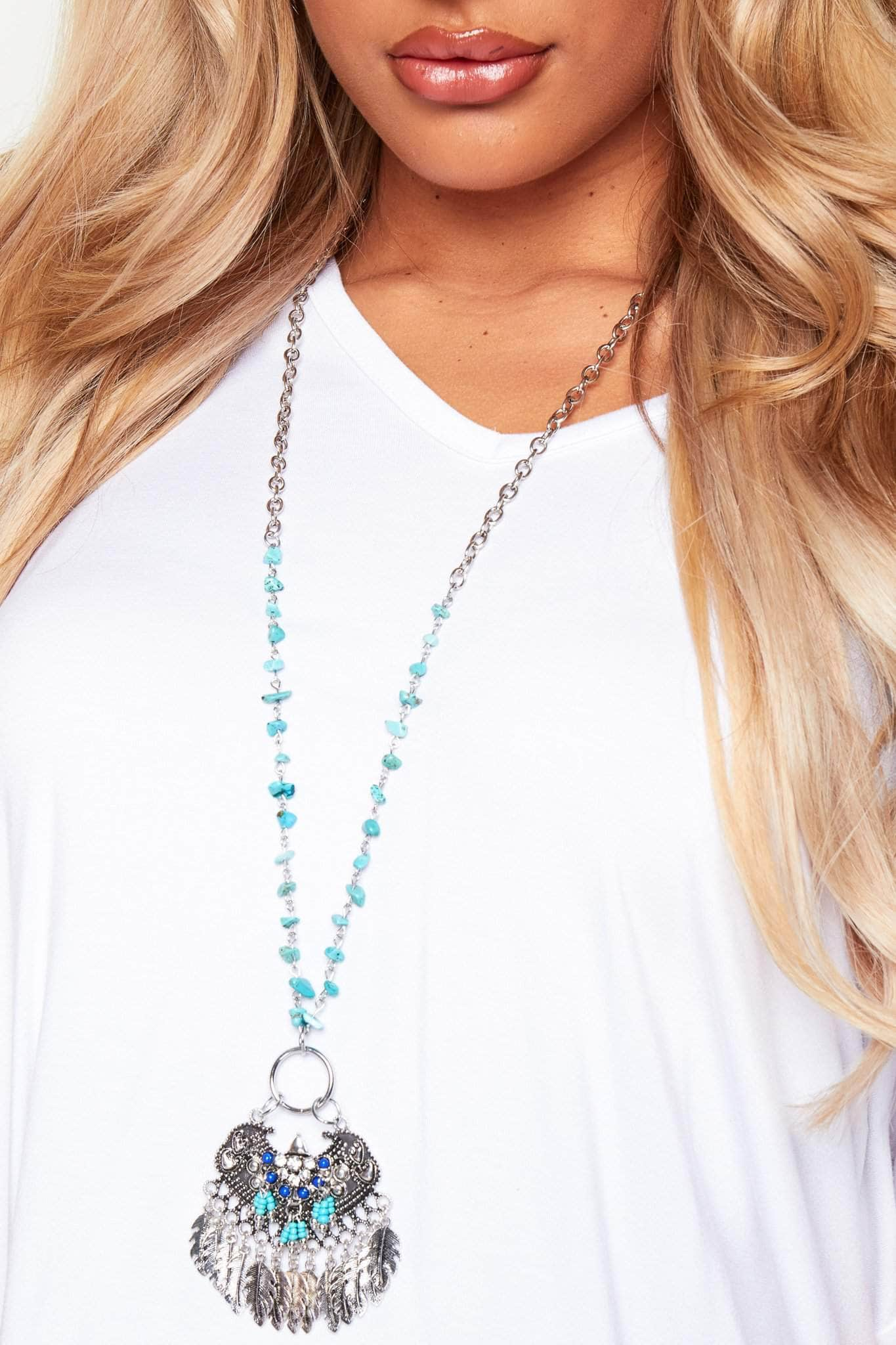 Silver Chain Necklace with Turquoise Beads