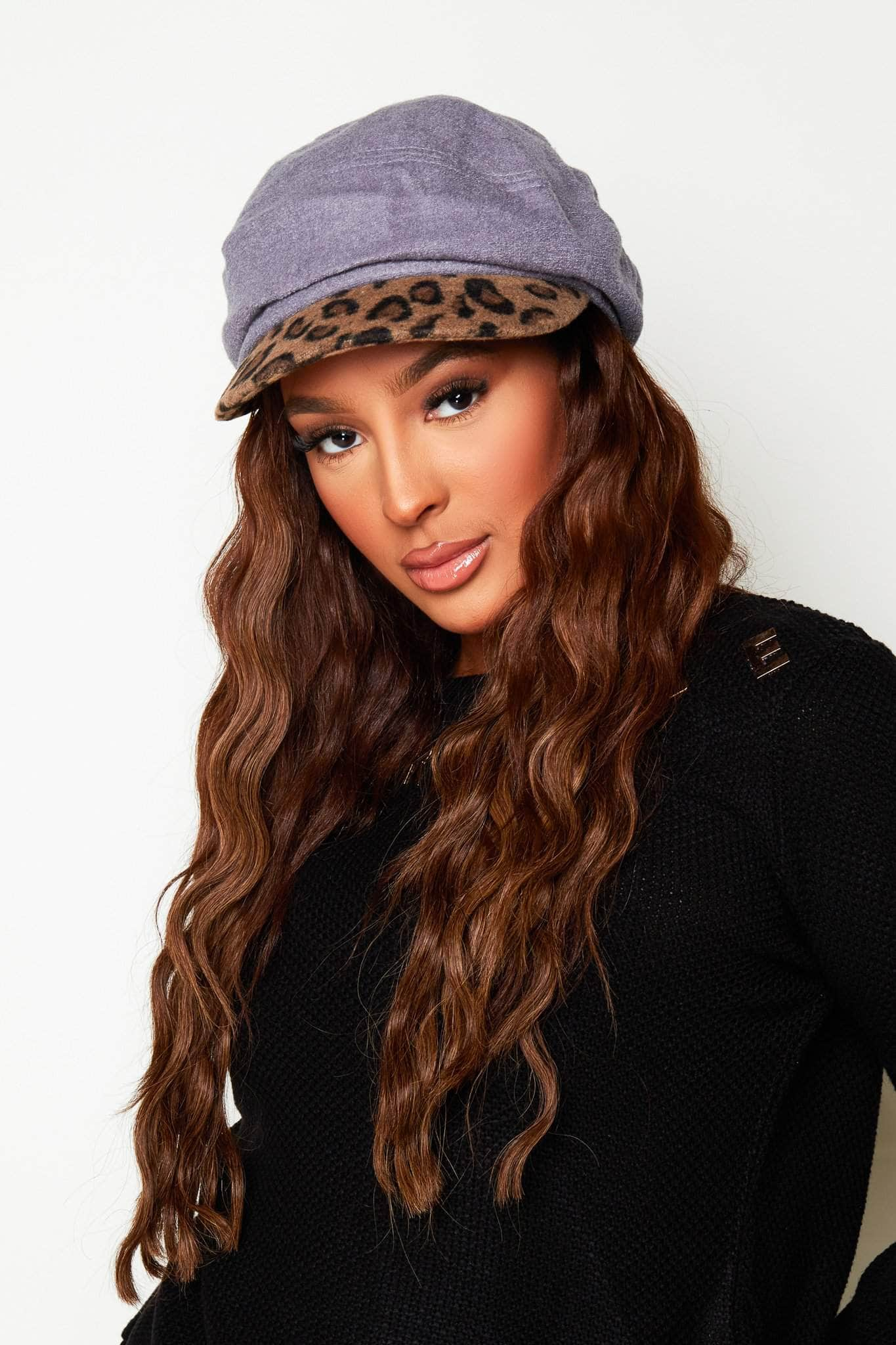 Grey Suede Leopard Baker Boy Hat