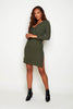 Khaki Ribbed Front Knot Jersey Dress