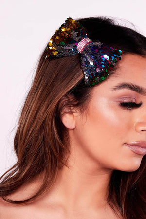 Multicoloured Sequin Bow Hair Clip