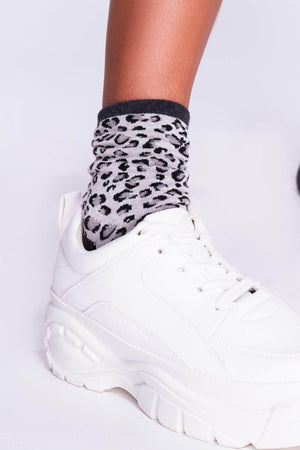 Black & Grey Leopard Socks