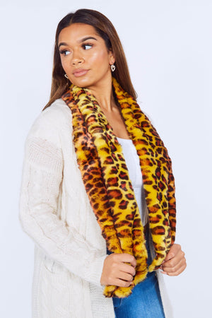 Leopard Faux Fur Cross Over Scarf