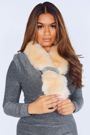 Cream Faux Fur Sequin Evening Scarf