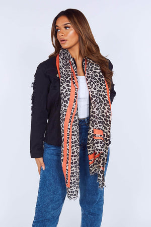 Leopard Scarf with Coral Trim