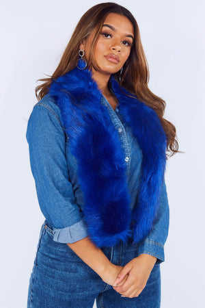 Blue Faux Fur Scarf