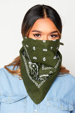 Dark Green Printed Bandana