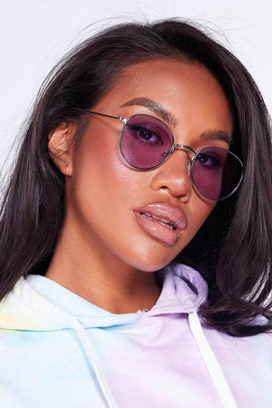 Rounded Lilac Tinted Sunglasses