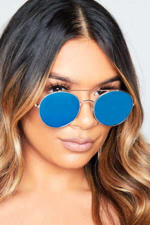 Blue Tinted Circle Gold Metal Sunglasses