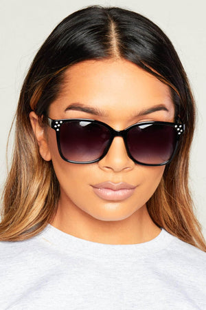 Diamante Embellished Black Sunglasses
