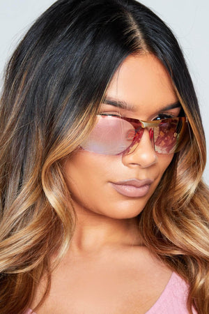 Gold & Pink Tinted Retro Sunglasses