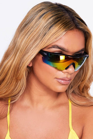 Orange & Blue Tinted Visor Sunglasses