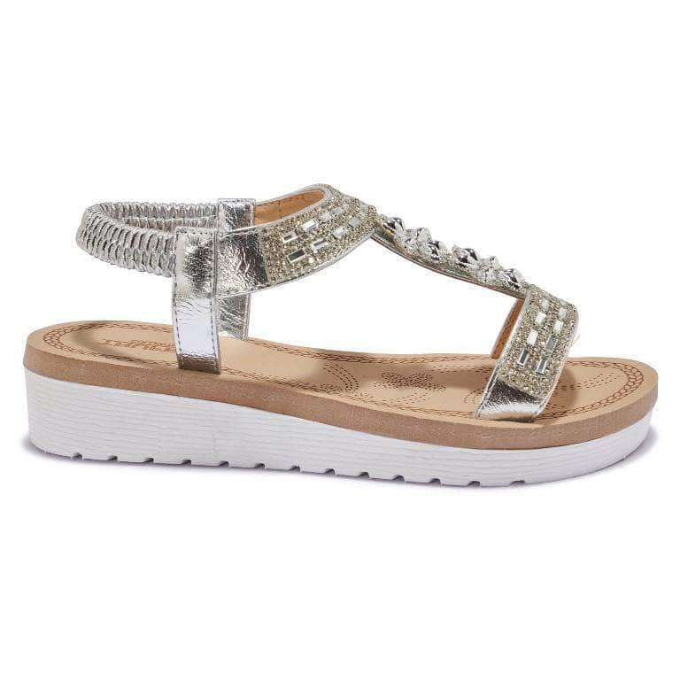 Silver Floral Diamante Embellished Sandals