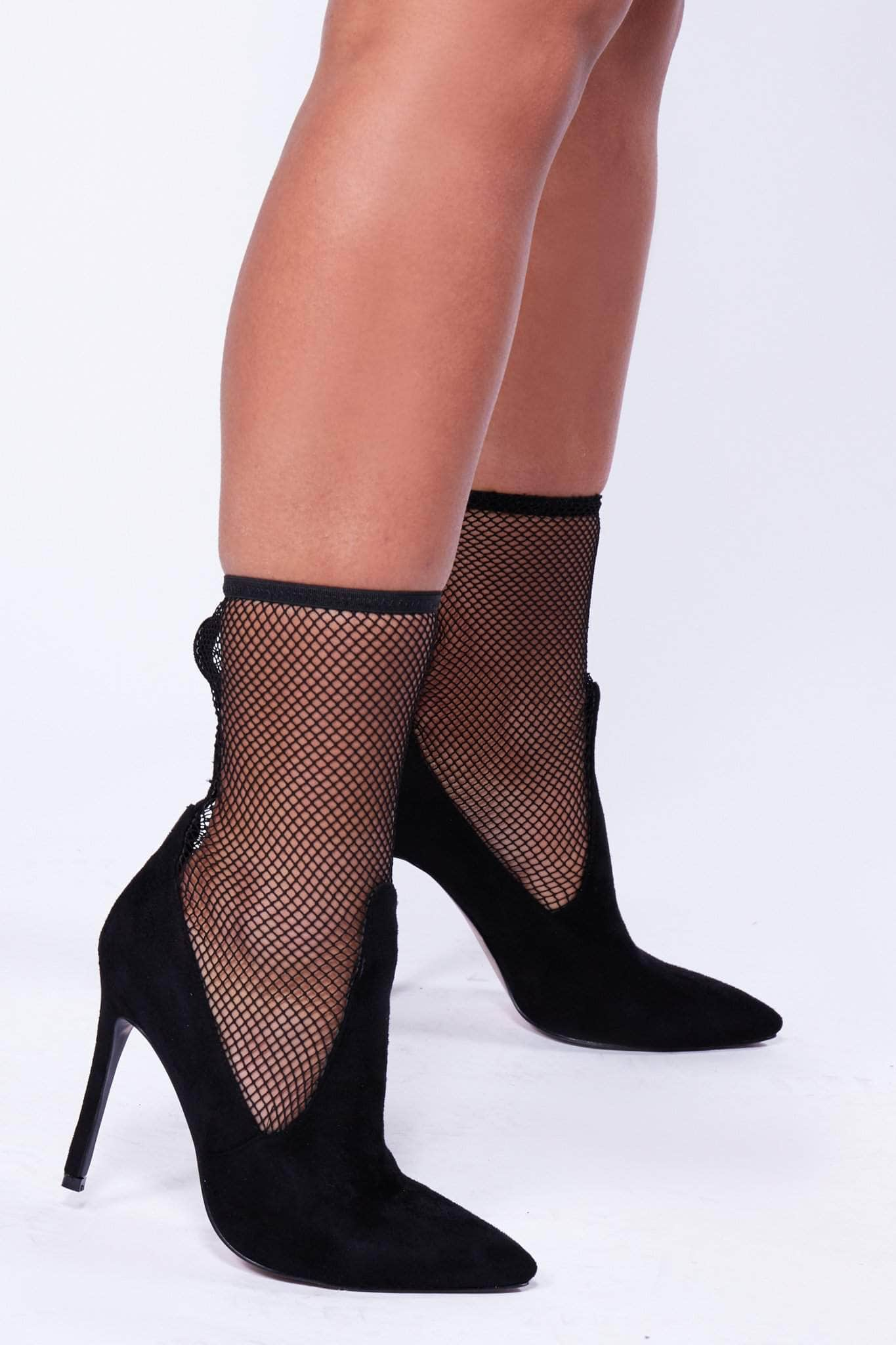 Black Suede & Fish Net Stiletto Heels