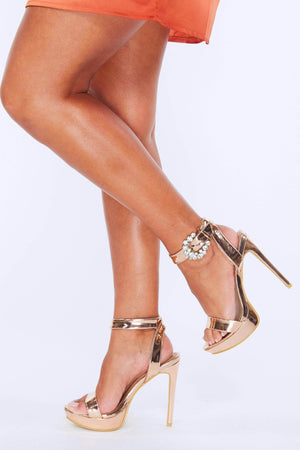 Rose Gold Chrome Platform Heels