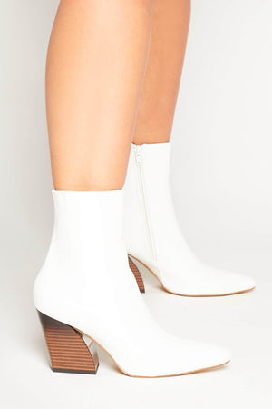 White Pu Pointed Western Boot with Wooden Heel