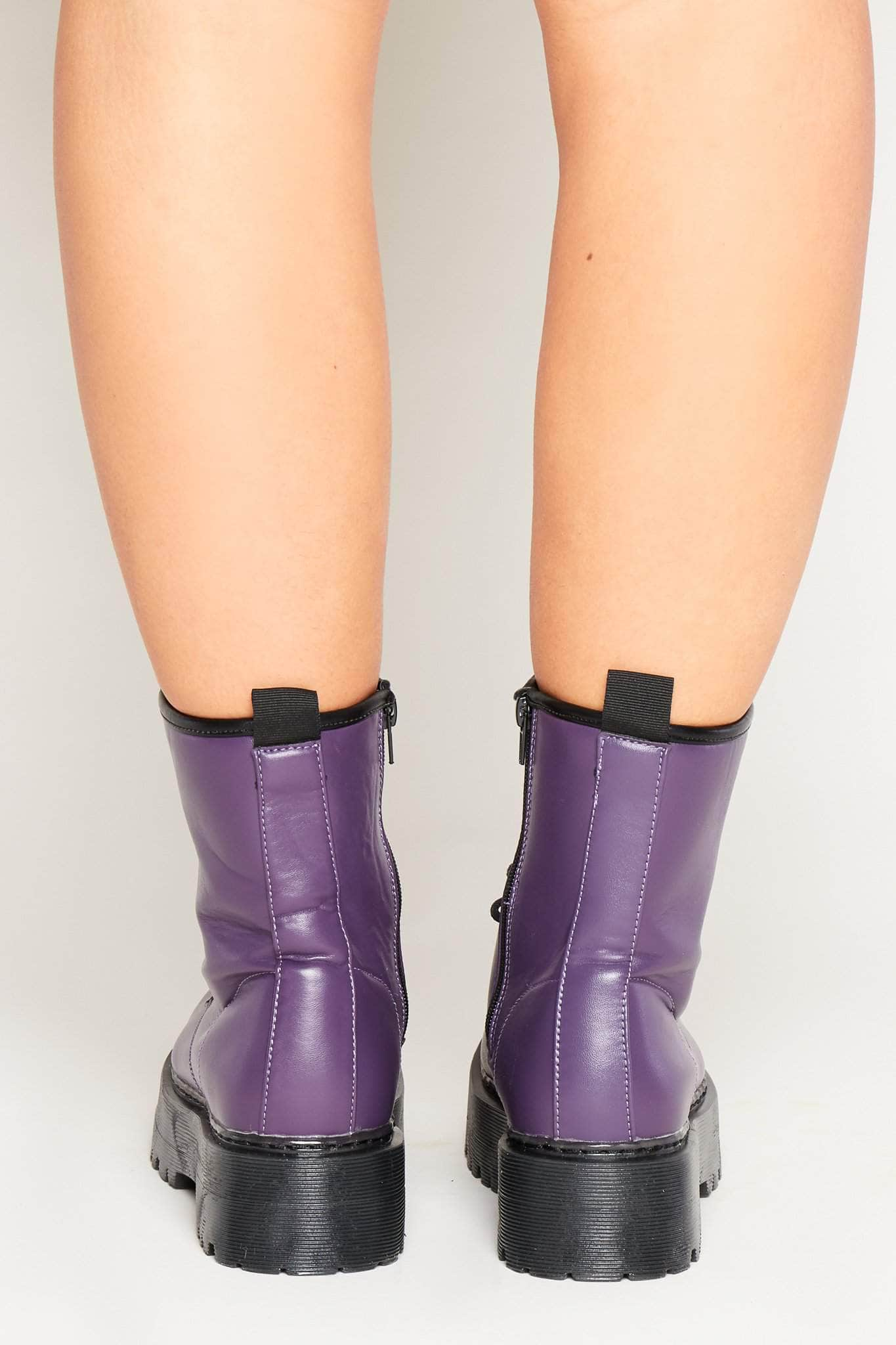 New Ex-Display PETASIL Kids Plum Purple Leather Brogue Style ZipUp//Lace-Up Boots