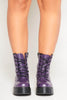 Purple Pu Lace Up Boots