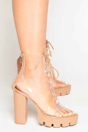 Nude Pu Perspex Platform Chunky Boots