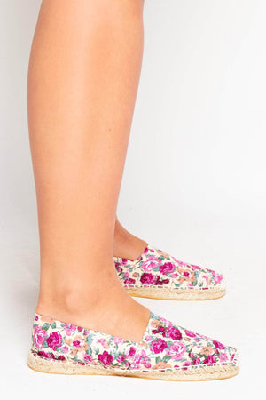 Purple Floral Canvas Flat Espadrilles
