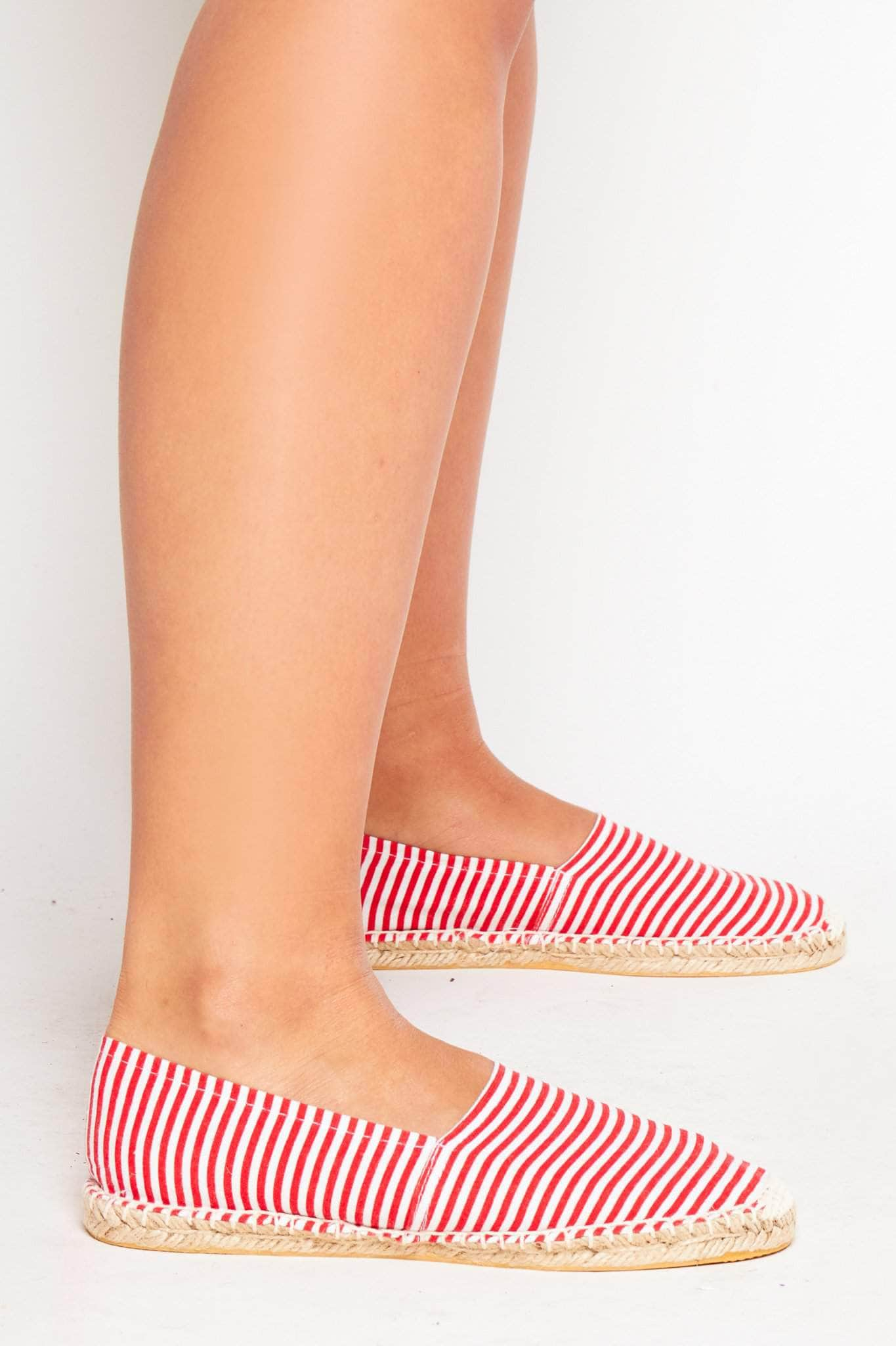 Red Stripe Canvas Flat Espadrilles