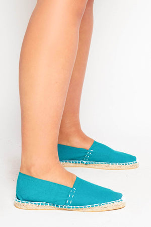 Teal Green Canvas Flat Espadrilles