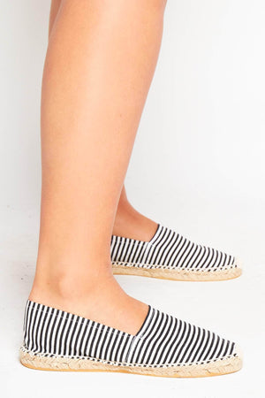 Black Stripe Canvas Flat Espadrilles