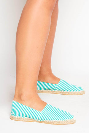 Green Stripe Canvas Flat Espadrilles