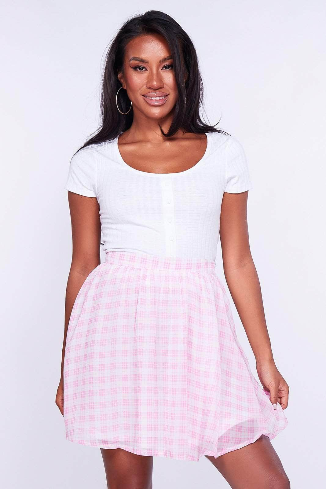 Pink and White Checked Floaty Skirt