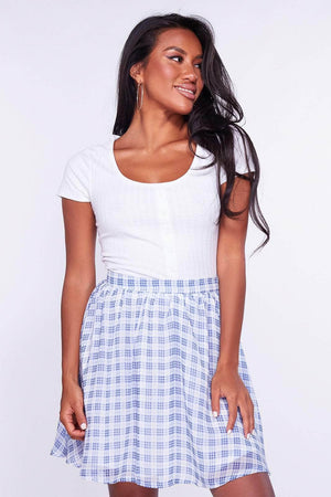 Blue and White Checked Floaty Skirt