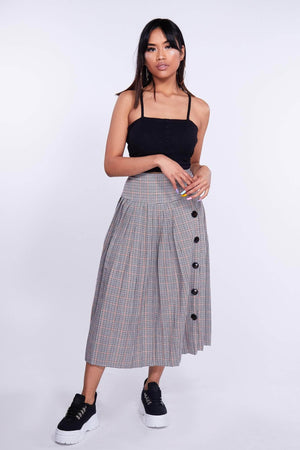 Grey Checked Pleated Midi Skirt