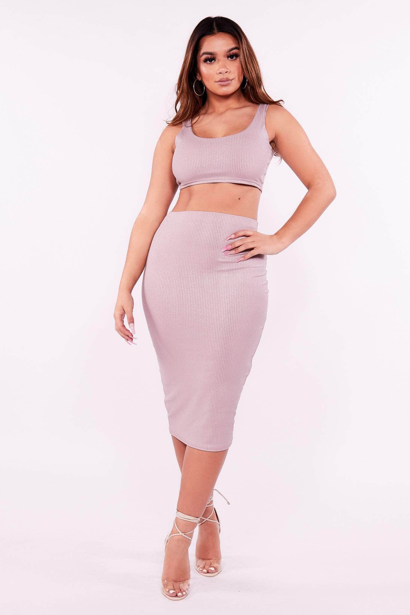 Metallic Nude Ribbed Midi Skirt
