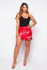 Red Vinyl Split Mini Skirt