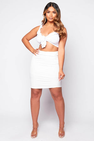 White Midi Straight Skirt
