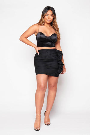 Black Side Ruffle Mini Skirt