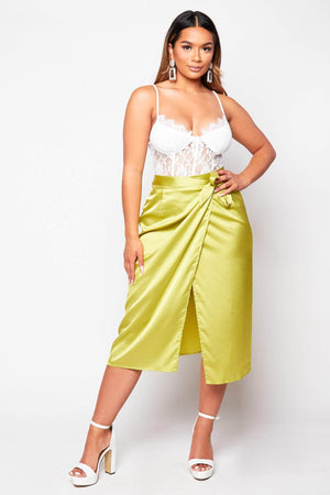 Lime Green Silk Wrap Midi Skirt