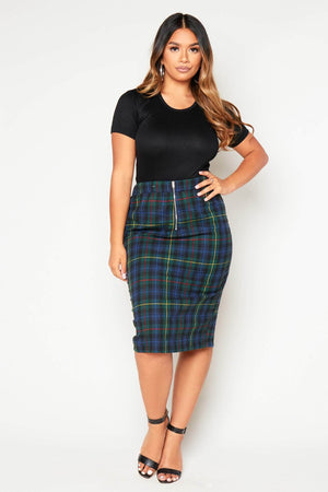 Green Tartan Pencil Skirt