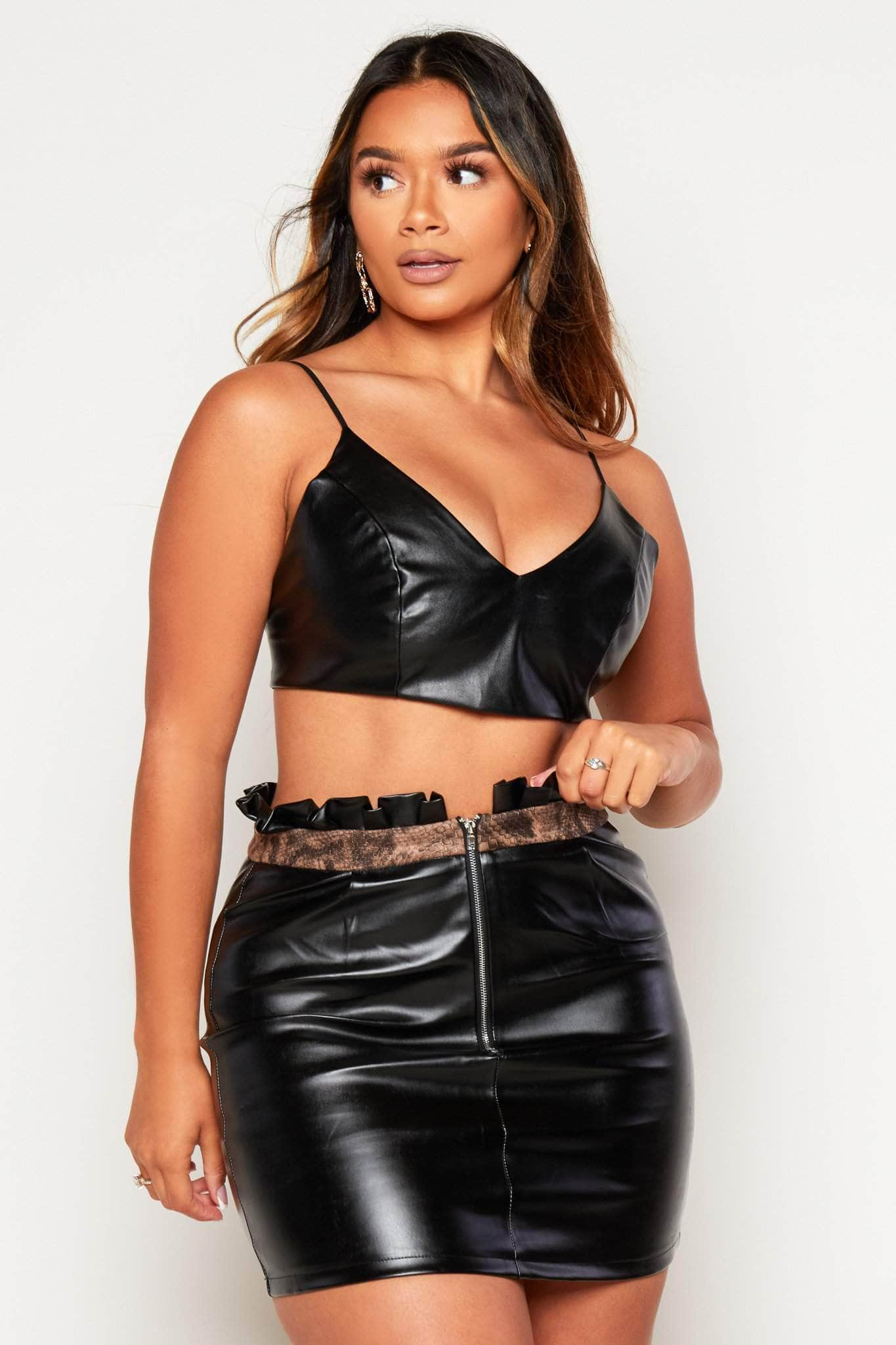 Black Leather Mini Skirt with Ruffle Snake Trim