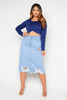 Blue Denim Ripped Pencil Skirt