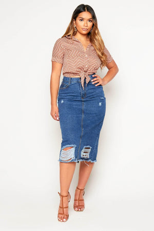 Distressed Ripped Denim Pencil Midi Skirt