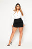 Black Jersey Zip Up Mini Skirt