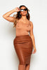 Tan Faux Leather Midi Pencil Skirt