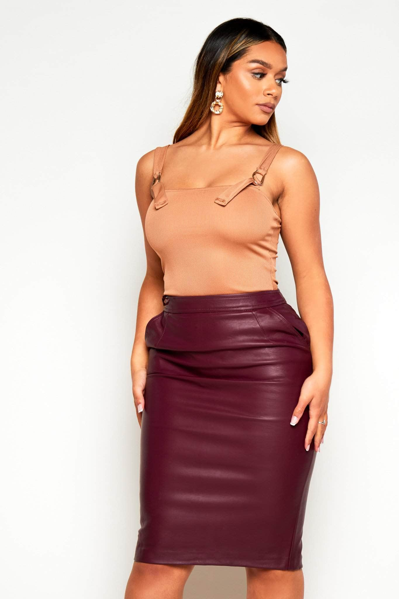 Burgundy Faux Leather Midi Pencil Skirt