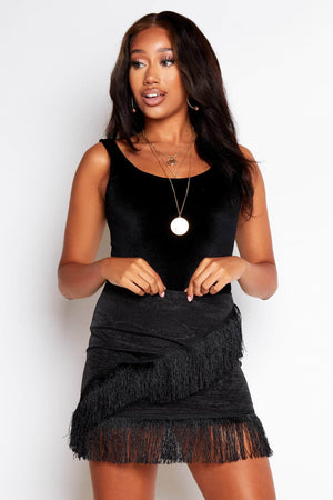Black Textured Tassel Mini Skirt