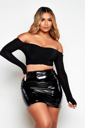 Black PVC Vinyl Mini Skirt